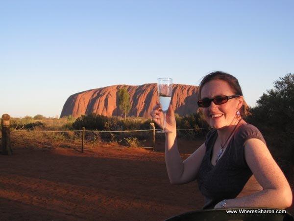 Sunset at Uluru with champagne