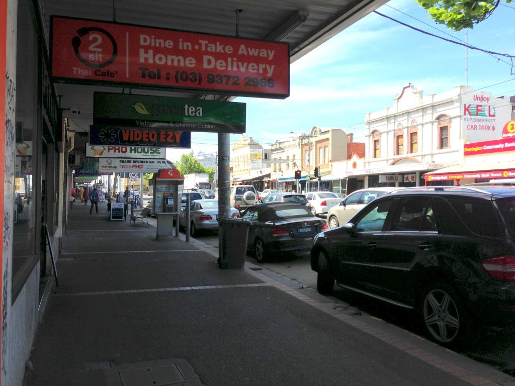 View of restaurants on racecourse road, flemington