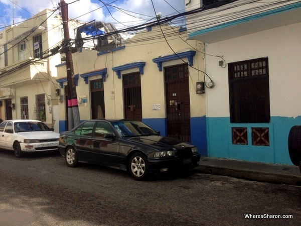 Street in Santo DOmingo with a laundromat