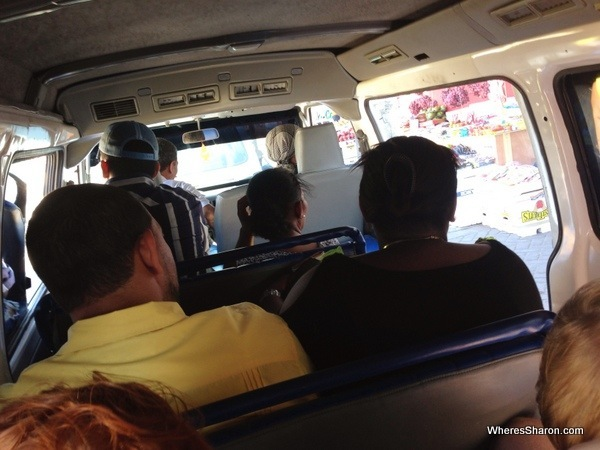 The guagua for one block before it filled up with people - expect four people on each of these - plus the kids in our case!