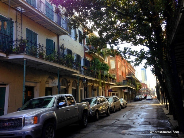 Pretty houses lining narrow street in new orleans