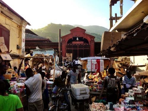 The busy streets around the Marche du Fer Cap-Haitien Haiti