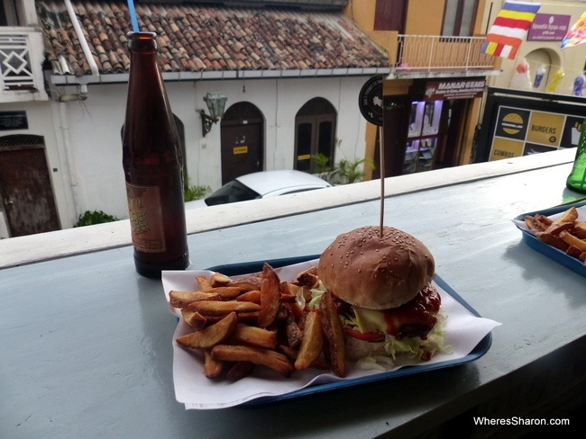 Delicious burger and fries at Rocket Burger Galle