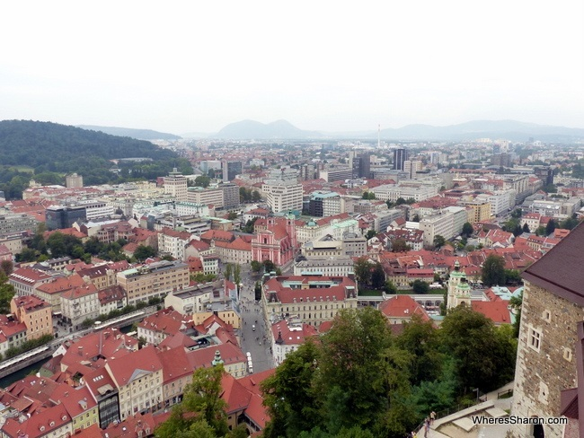 Views from Ljubljana Castle at the Old Town and across Ljubljana