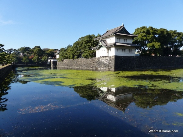 The moat, outer wall and a former guard tower of the Shogun's fortress than now form part of the East Imperial Gardens.