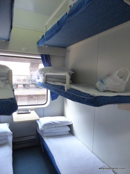 Catching the train to North Korea from China cabin on train