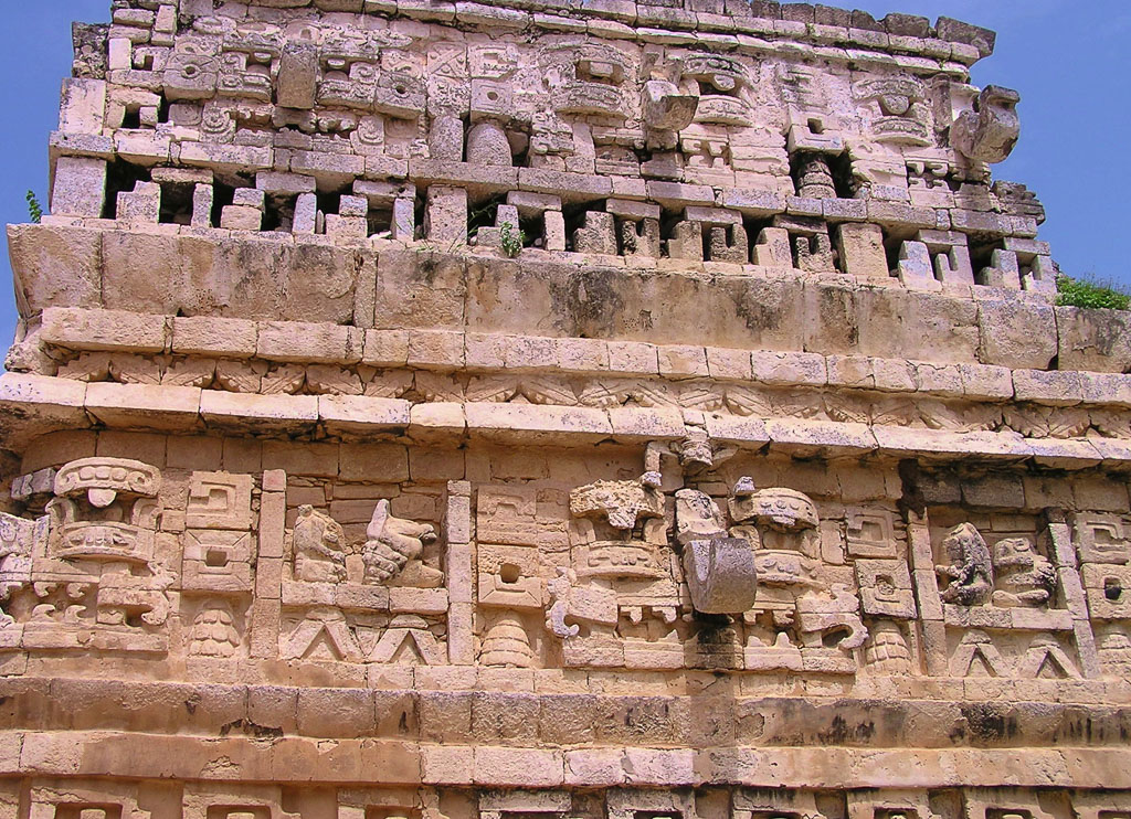 Carvings Dedicated to Curl-Nosed Deity Chac at Chichen Itza