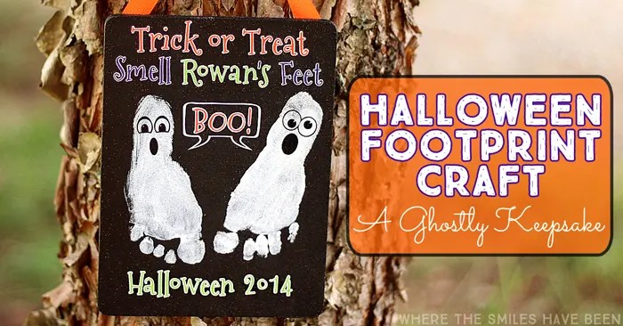 Halloween Footprint Craft: A Ghostly Keepsake for Kids! | Where The Smiles Have Been #Halloween #ghost #footprint #fall #kidscraft #trickortreat #keepsake