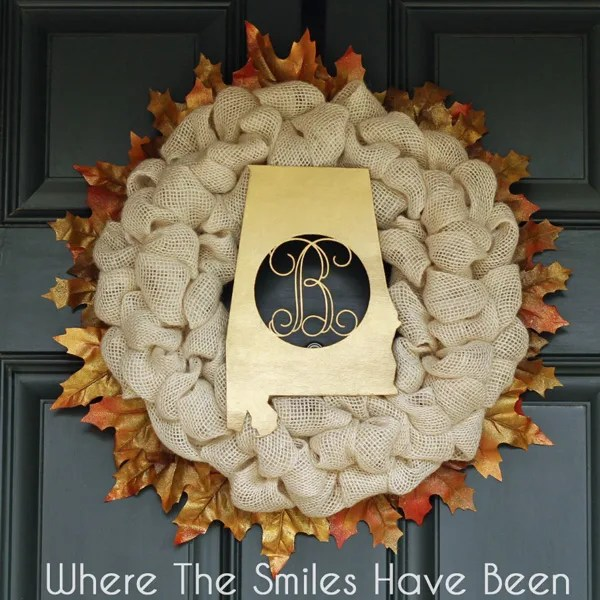 Fall Burlap Wreath via Where The Smiles Have Been.