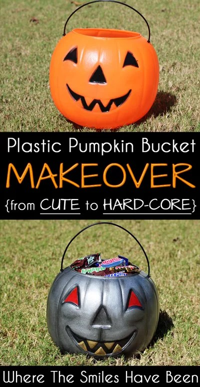 Plastic Pumpkin Bucket Makeover: From Cute to Hard-Core!