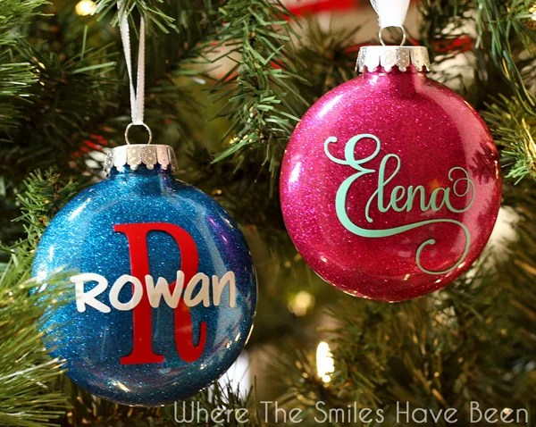 DIY Personalized Glitter Ornaments | Where The Smiles Have Been