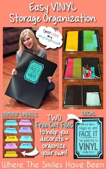 Easy Vinyl Storage Organization & TWO Free Cut Files!