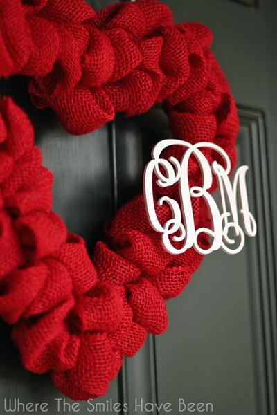 Valentine's Burlap Heart Wreath with Couple's Monogram
