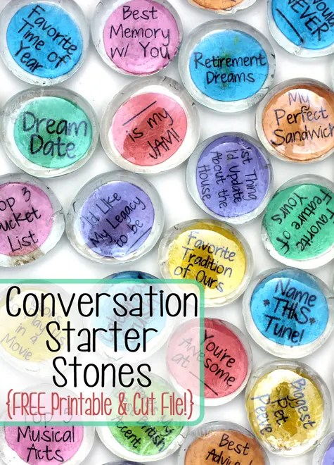 Conversation Starter Stones and Free Printable & Silhouette Cut File! | Where The Smiles Have Been