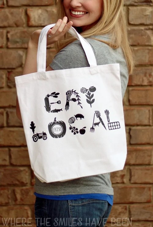 DIY Farmers' Market Tote Bag: Eat Local! | Where The Smiles Have Been
