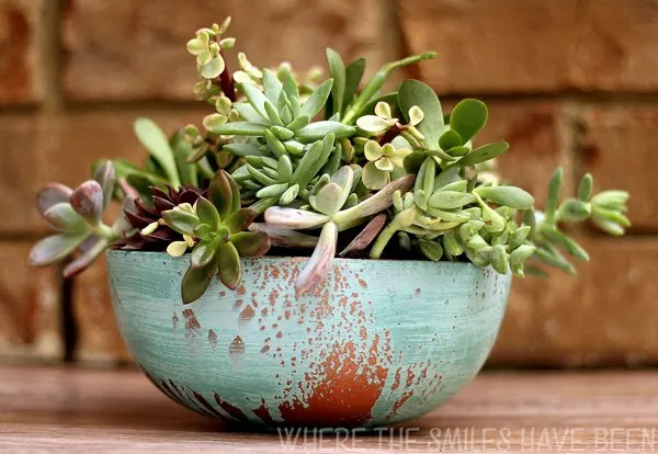 Faux Aged Copper Succulent Planter Housewarming Gift   Where The Smiles Have Been