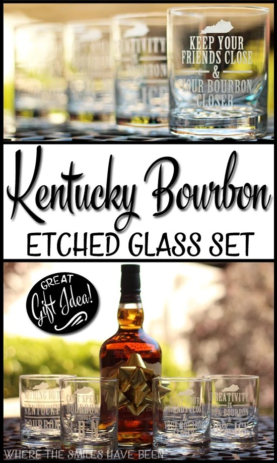 DIY Kentucky Bourbon Etched Glass Set | Where The Smiles Have Been