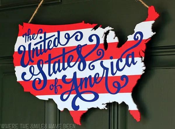 Patriotic USA Map Wooden Door Hanger | Where The Smiles Have Been