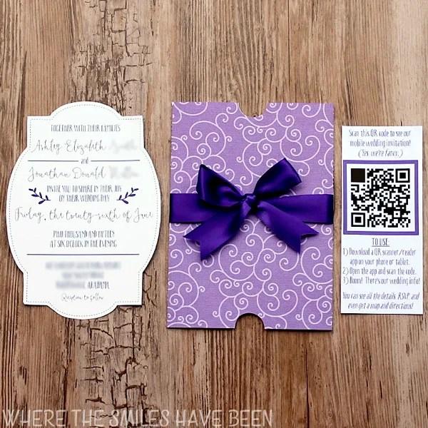 Diy Wedding Invitations Pinterest: DIY Wedding Invites With Mobile App & QR Code + FREE Cut Files