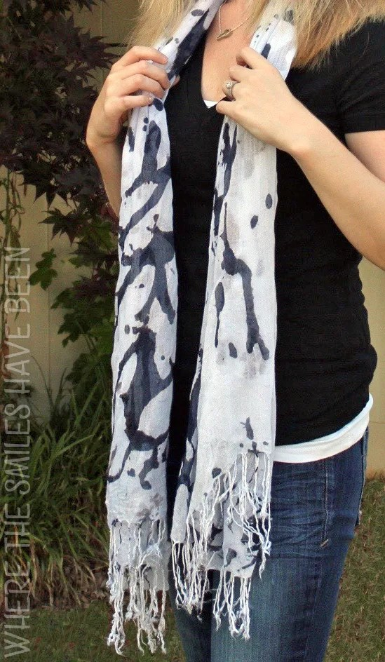 Abstract Black and White Ink Blot Scarf Dyed with the SUN! | Where The Smiles Have Been