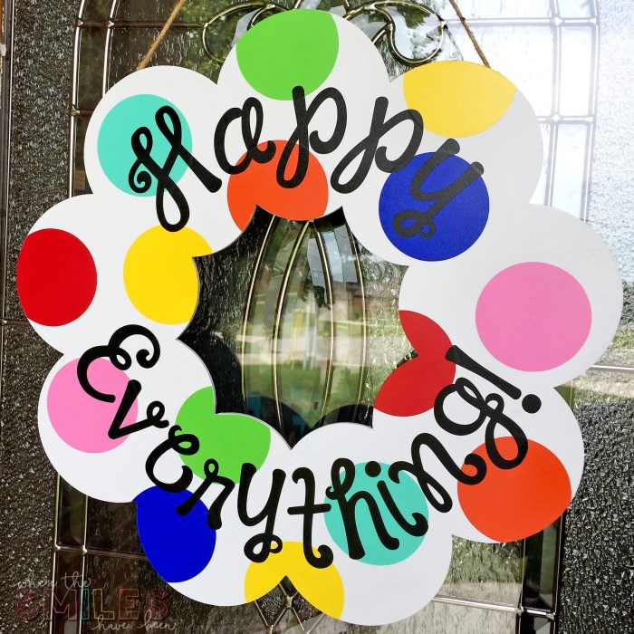Year-Round Happy Everything Wreath: A Coton Colors Knock Off! | Where The Smiles Have Been #happyeverything #yearroundwreath #CotonColors #knockoff #DIY #polkadots