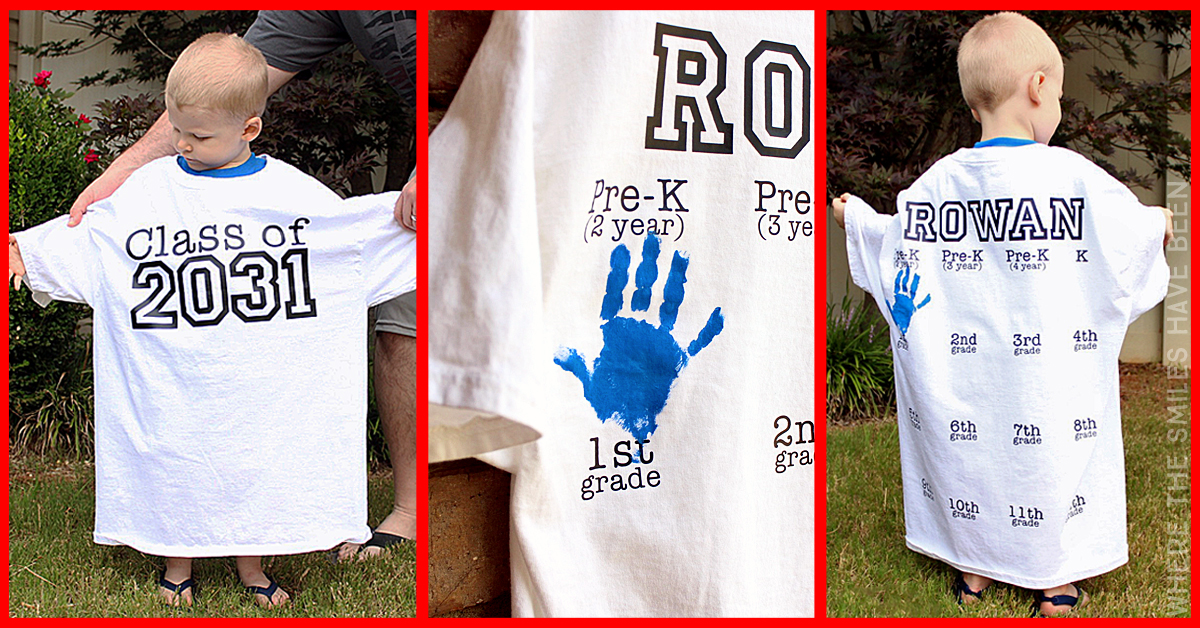 Yearly Back To School Shirt With Handprints For Every Grade