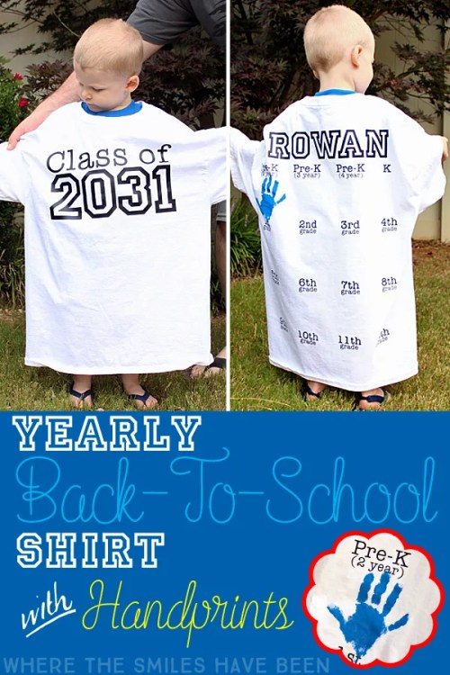 Yearly Back-to-School Shirt with Handprints for Every Grade! | Where The Smiles Have Been