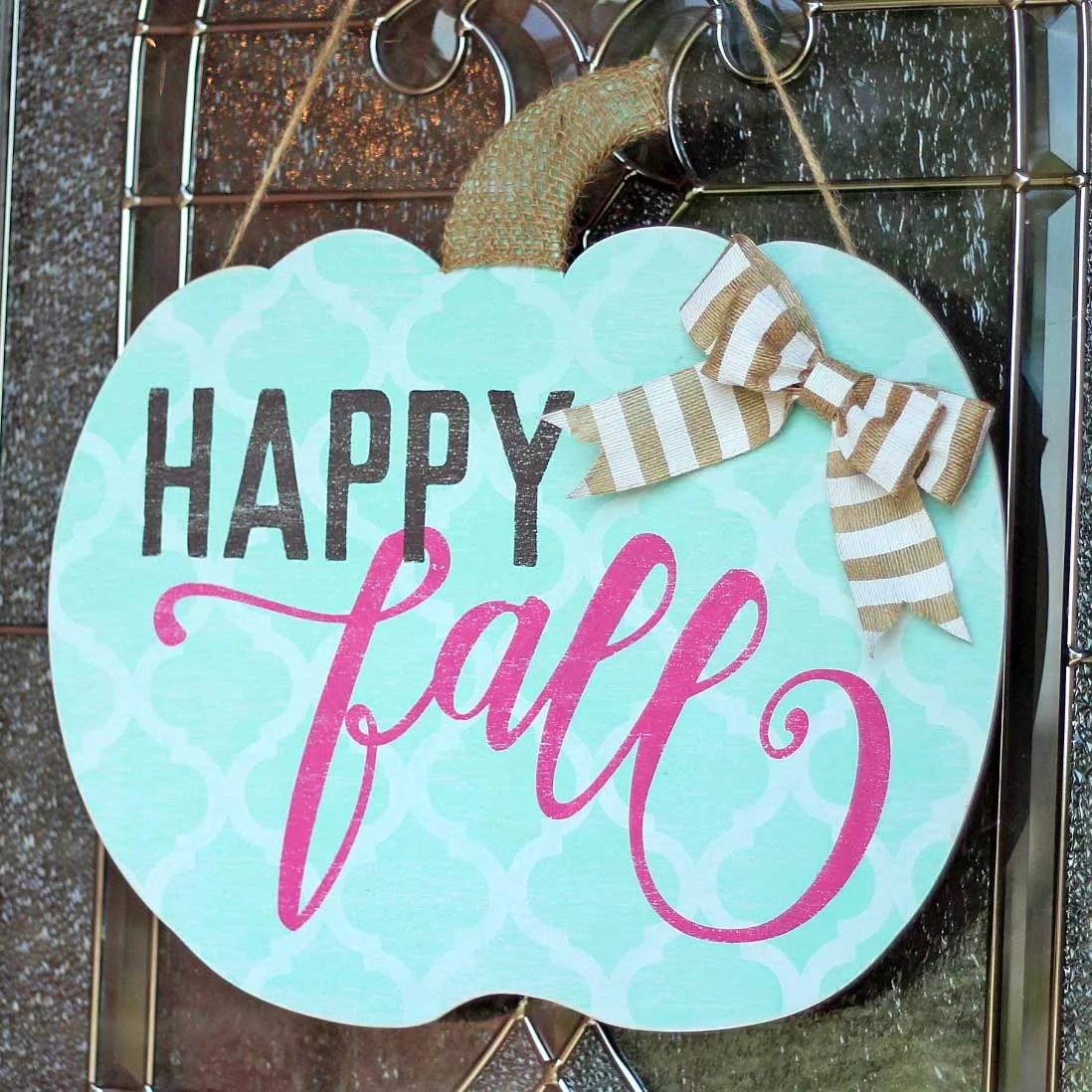 abdfccf0534c Shabby Chic Happy Fall Pumpkin Door Hanger