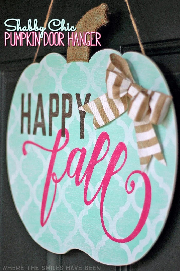 Shabby Chic Happy Fall Pumpkin Door Hanger: My Girly Gourd! | Where The Smiles Have Been
