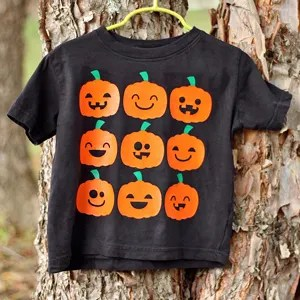 Cute Halloween Jack-O-Lantern Faces Shirt that's Perfect for the Pumpkin Patch!
