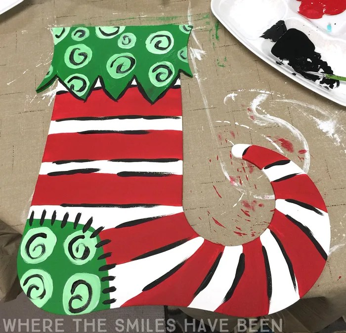 Whimsical Painted Christmas Stocking Door Hanger   Where The Smiles Have Been