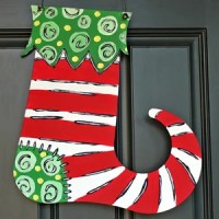 Whimsical Painted Christmas Stocking Door Hanger