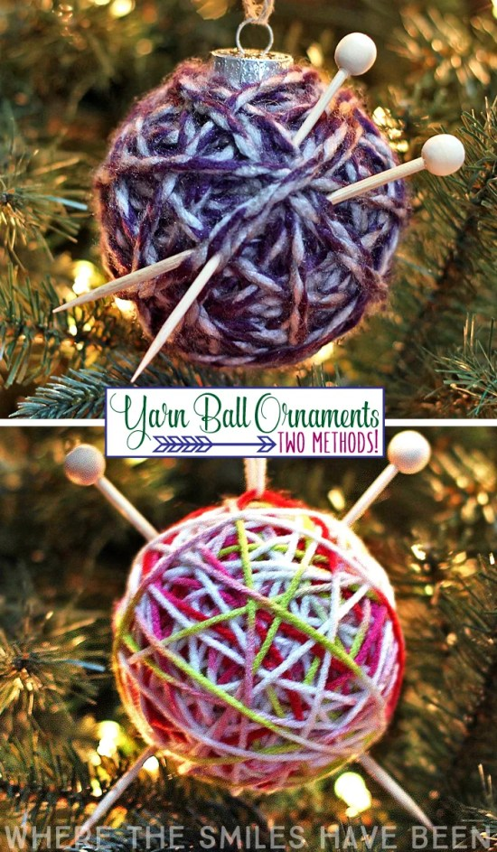 How to Make a Yarn Ball Ornament: Two Methods! | Where The Smiles Have Been