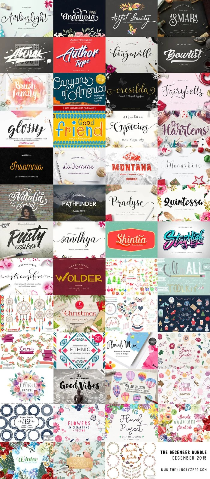 The Hungry JPEG's December Font Bundle: 30 Fonts & 1500 Graphics! Save 20% with code Smiles20!