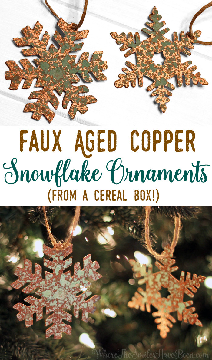 Diy Faux Aged Copper Snowflake Ornaments From A Cereal Box!  Where The  Smiles Have