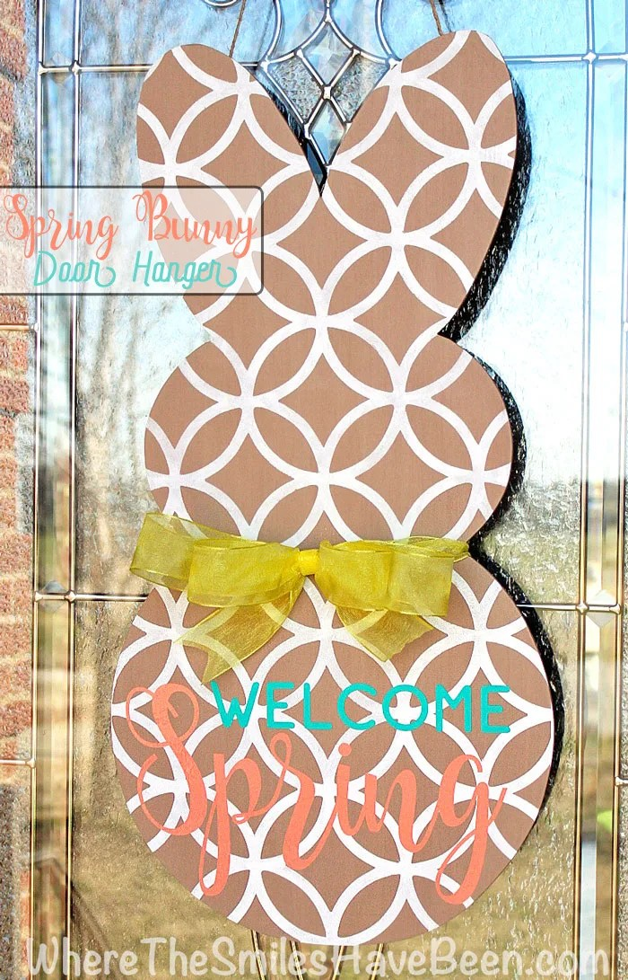 Spring Bunny Door Hanger. This is the perfect alternative wreath idea for Easter and beyond!   Where The Smiles Have Been