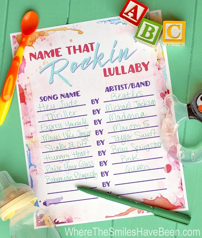 Baby Shower Game Free Printable: Name That Rockin' Lullaby