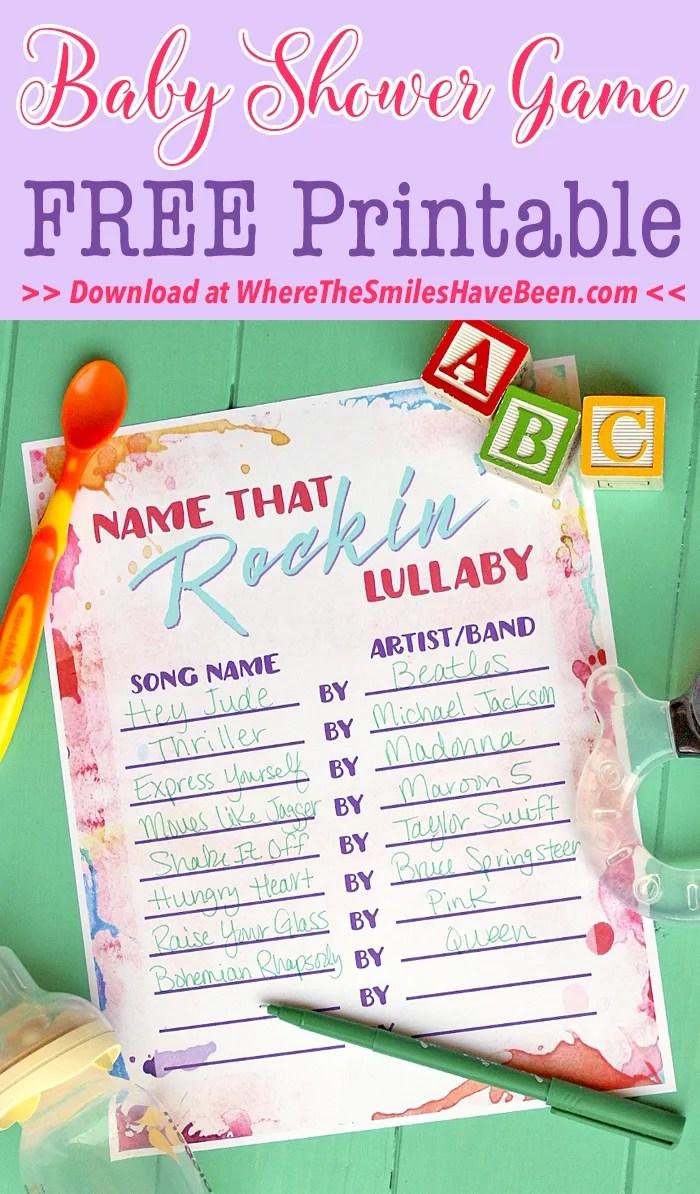 Baby Shower Game Free Printable: Name That Rockin' Lullaby! | WhereTheSmilesHaveBeen.com