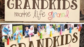 Colorful 'Grandkids Make Life Grand' Wood Sign Photo Display