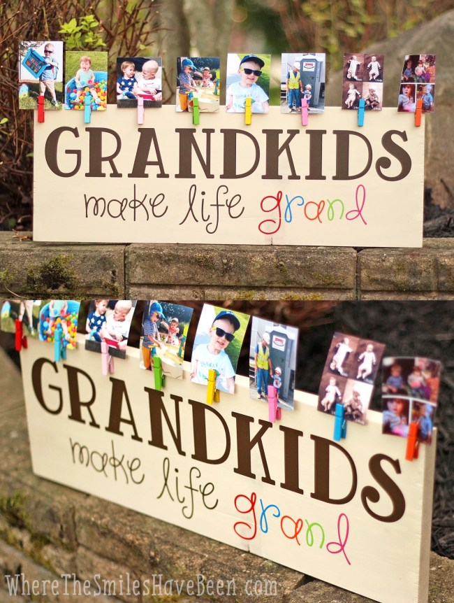 Colorful Grandkids Make Life Grand Wood Sign Photo Display   Where The Smiles Have Been