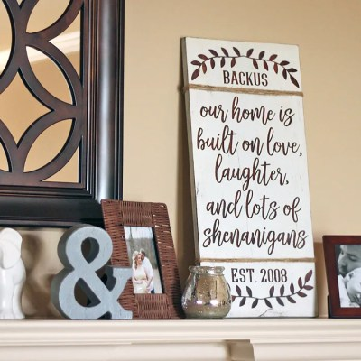 DIY Farmhouse Sign: Personalized Love & Shenanigans + Font Giveaway!