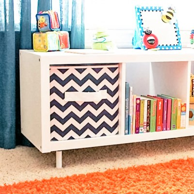 Add legs to an IKEA Kallax shelf.