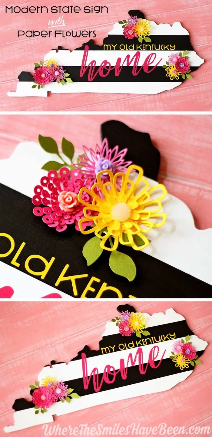 Diy black white striped state sign with colorful paper flowers modern black white striped state sign with colorful paper flowers where the smiles mightylinksfo
