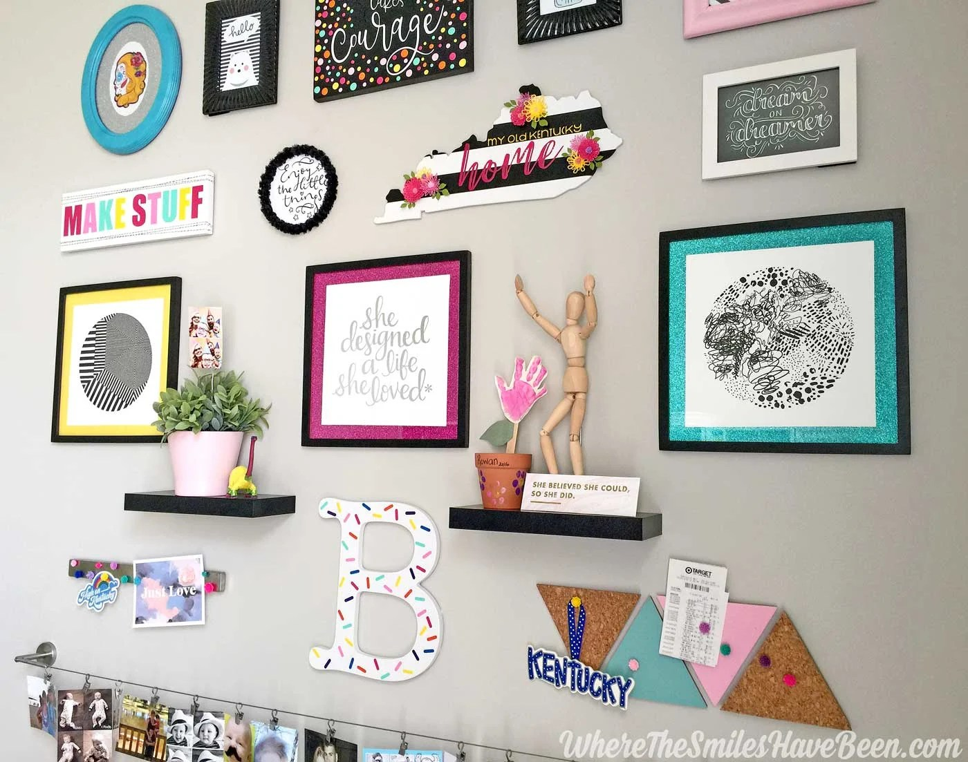Colorful Craft Room Gallery Wall + $100 Erin Condren Giveaway! | Where The  Smiles Have