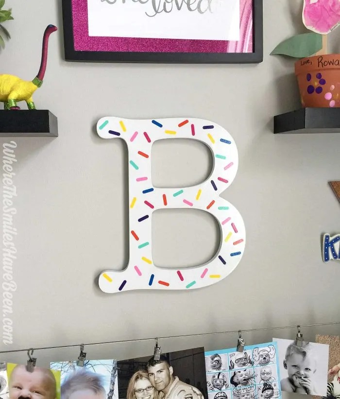 "Love this initial with ""sprinkles""! So fun! Colorful Craft Room Gallery Wall + $100 Erin Condren Giveaway! 