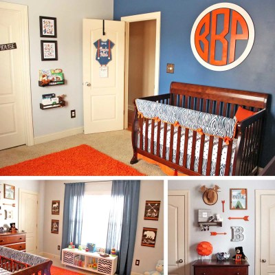 Take a Tour of Our Navy & Orange Modern Woodland Nursery!