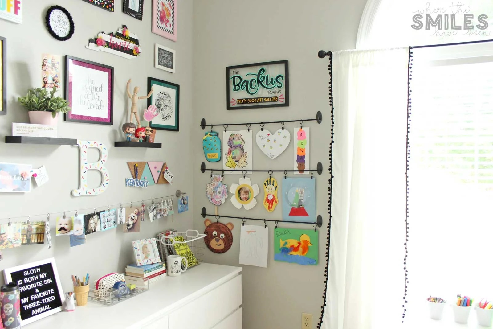 Easy DIY Kids Art Display: Simple, Inexpensive, & No Damage! | Where The Smiles Have Been #kids #art #artdisplay