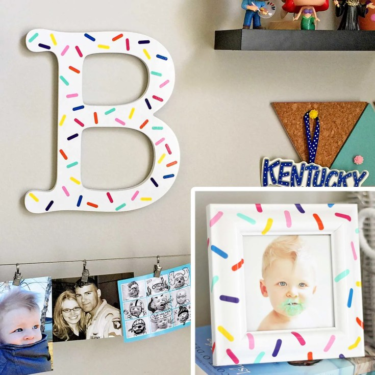 Colorful DIY Sprinkle Letter & Matching Frame: A Great Vinyl Scrap Buster!