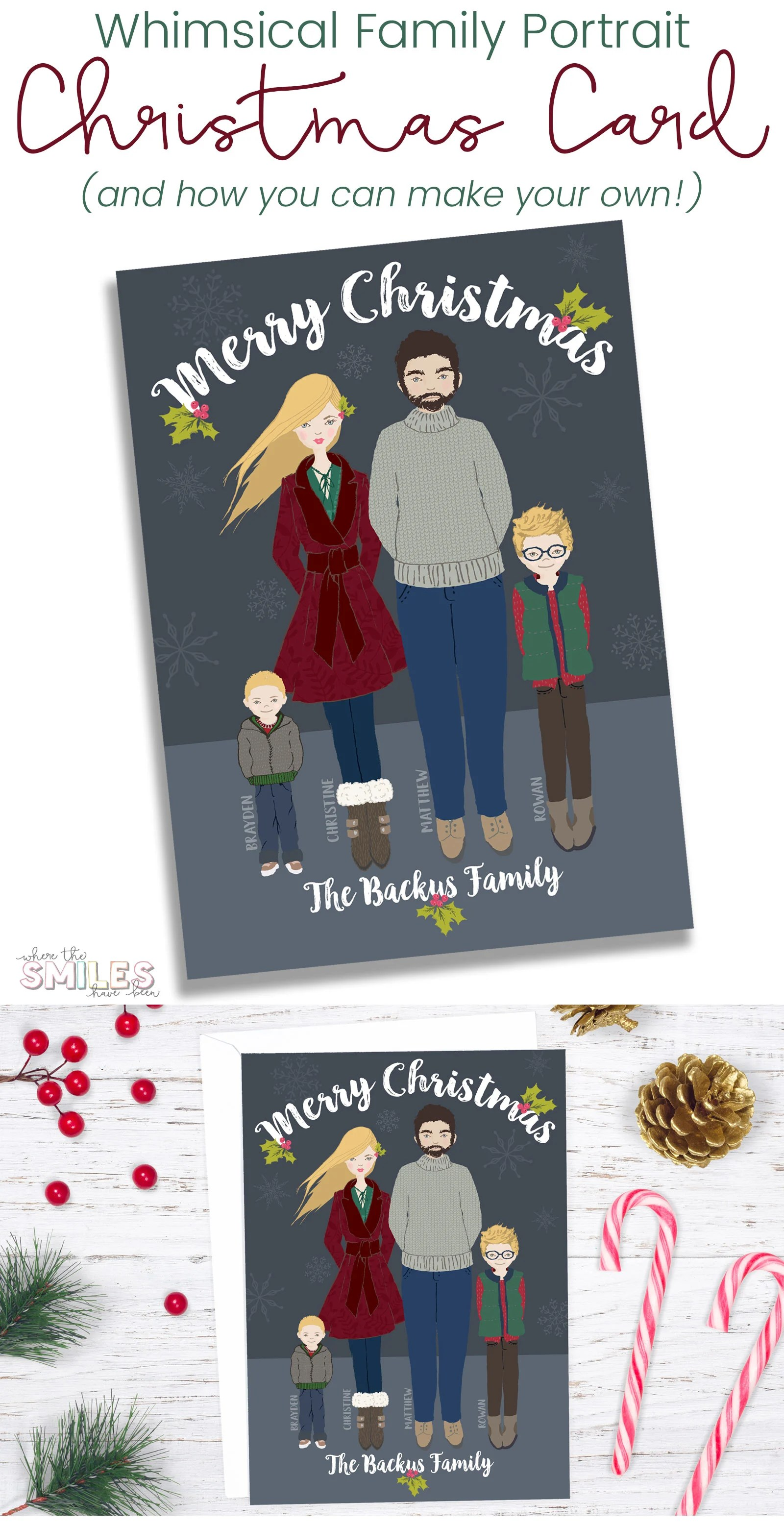 Christmas Card Making Ideas Early Years Part - 49: DIY Whimsical Family Portrait Christmas Card | Where The Smiles Have Been # Christmas #card