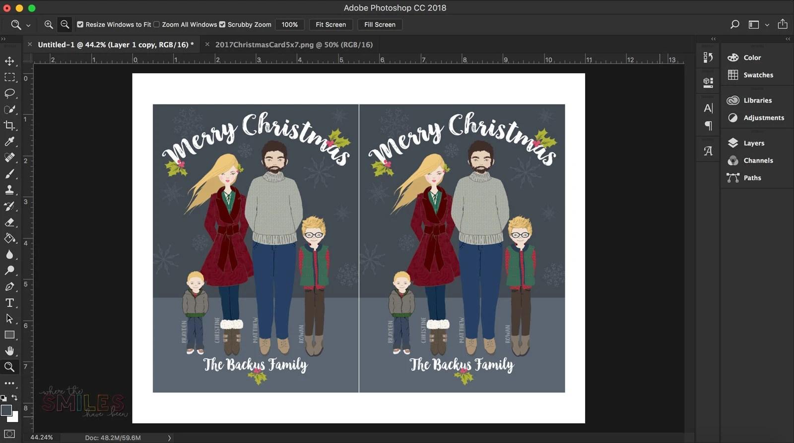 DIY Whimsical Family Portrait Christmas Card | Where The Smiles Have Been #Christmas #card #portrait